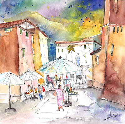 Town Square Drawing - Pietrasanta In Italy 03 by Miki De Goodaboom