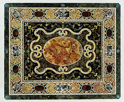 Wood Table Drawing - Pietre Dure Table Unknown Tabletop 1580 - 1600 Base 1825 by Litz Collection