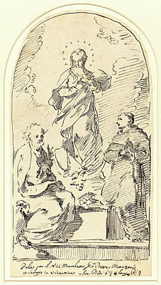 Immaculate Drawing - Pietro Antonio Novelli, Italian 1729-1804 by Litz Collection
