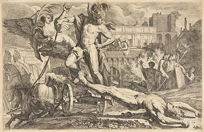 Pietro Testa Italian, 16111612 - 1650. Achilles Dragging Print by Litz Collection