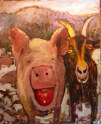 Painting - Pig And Goat by Paul Emory