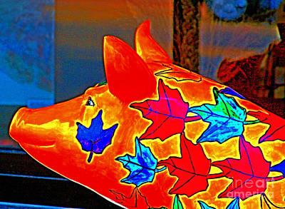 Pig Art Statuary Head Leaves Art Print by Margaret Newcomb