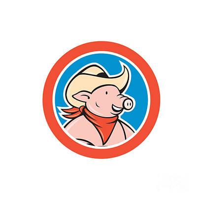 27473ab8ace Cowboy Hat Digital Art - Pig Cowboy Head Circle Cartoon by Aloysius  Patrimonio
