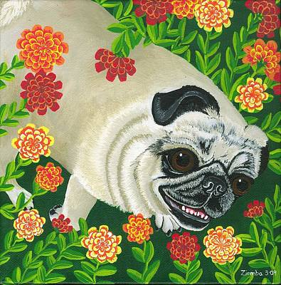 Painting - Pig The Pug by Lori Ziemba