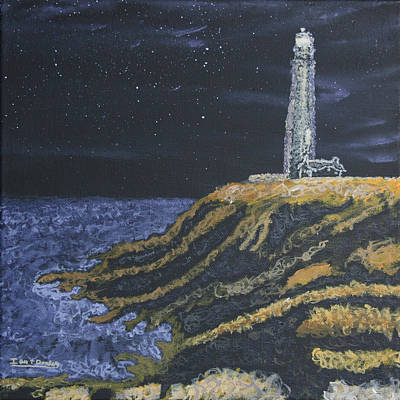 Painting - Pigeon Lighthouse Night Scumbling Complementary Colors by Ian Donley