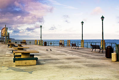 Pigeon Meeting At Redondo Pier Art Print by Joseph Hollingsworth