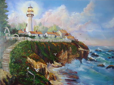 Painting - Pigeon Point Lighthouse by Luz Perez