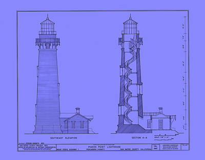 Lighthouse Drawing - Pigeon Point Lighthouse Plan - California by Mountain Dreams