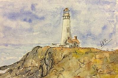 Painting - Pigeon Point Lighthouse by Suvitha Ramaswamy