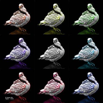 Digital Art - Pigeon Pop Art 5516 - Fs - Bb - M-  Modern Animal Artist James A by James Ahn