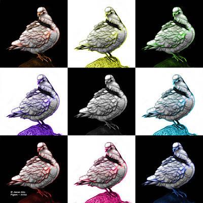 Digital Art - Pigeon Pop Art 5516 - Fs - V1 - M-  Modern Animal Artist James A by James Ahn