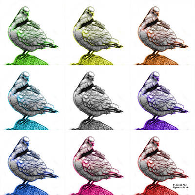 Mixed Media - Pigeon Pop Art 5516 - Fs - Wb - M-  Modern Animal Artist James A by James Ahn