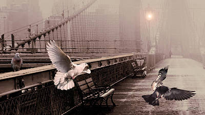 Painting - Pigeons On The Brooklyn Bridge by IM Spadecaller