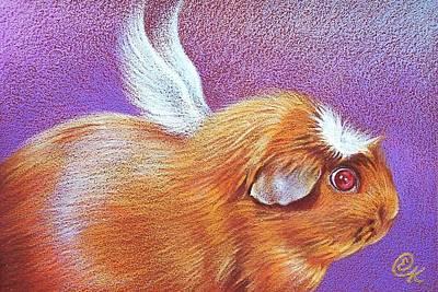 Drawing - Piggie Angel by Elena Kolotusha