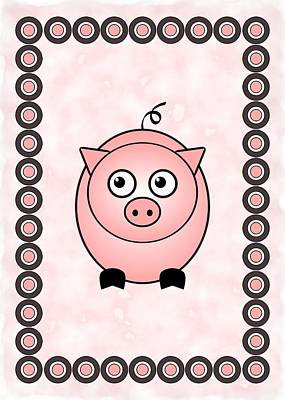 Cute Digital Art - Piggy - Animals - Art For Kids by Anastasiya Malakhova