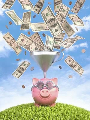 Piggy Bank And Dollars Print by Ktsdesign