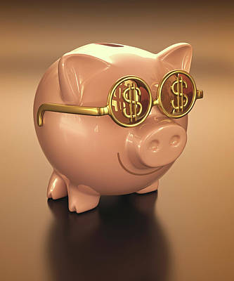 Piggy Bank Photograph - Piggy Bank Wearing Glasses by Ktsdesign