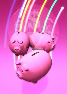 Piggy Bank Photograph - Piggy Banks by Victor Habbick Visions
