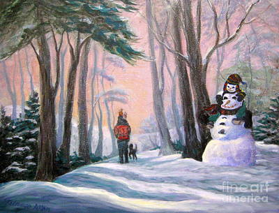 Painting - Piggyback Ride In Snow - 1 by Gretchen Talmage Allen