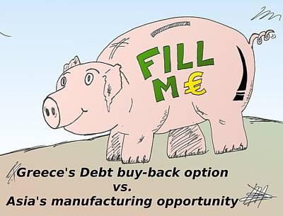 Debt Mixed Media - Piggybank Debt Cartoon by OptionsClick BlogArt