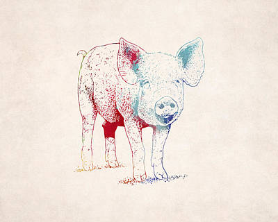 Piglets Digital Art - Piglet Illustration Drawing by World Art Prints And Designs