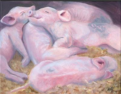 Piglets At Peace Art Print by Deborah Butts