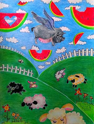 Watermelon Drawing - Pigs Can't Fly by Denisse Del Mar Guevara