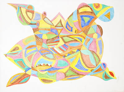 Abstract Shapes Painting - Pigs Fly Upside Down by Stormm Bradshaw