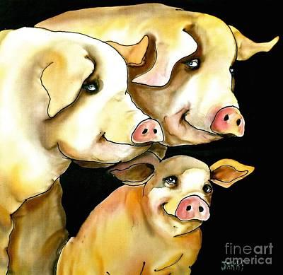 Wall Art - Painting - Pigs by Jakki Moore