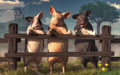 Domestic Animals Digital Art - Pigs On A Fence by Daniel Eskridge