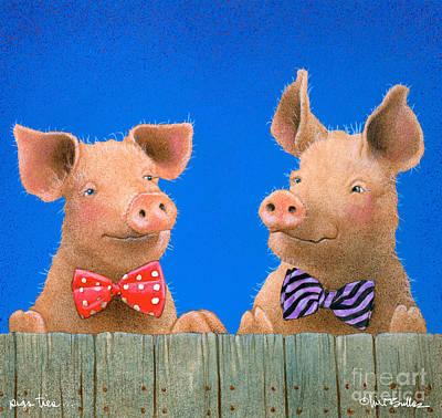 pigs ties... by Will Bullas Art Print by Will Bullas
