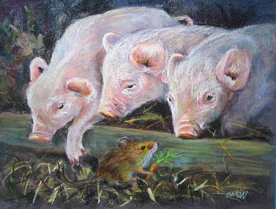 Art Print featuring the painting Pigs Vs Mouse by Jieming Wang