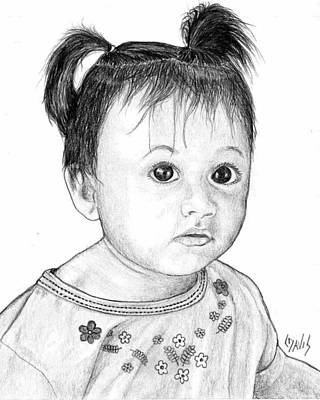 Art Print featuring the drawing Pigtails 2 by Lew Davis