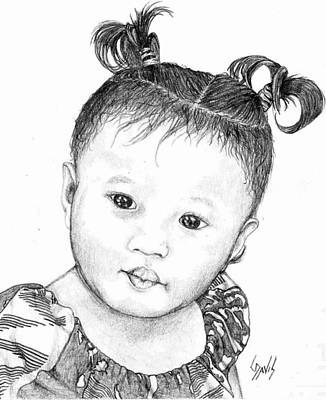 Art Print featuring the drawing Pigtails by Lew Davis