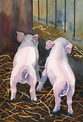 Swine Painting - Pigtails by Marsha Elliott