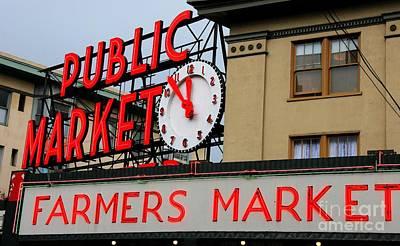 Pike Place Farmers Market Sign Art Print