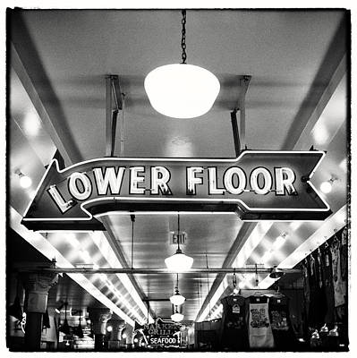 Pike Place Market Lower Floor Sign Art Print by Tanya Harrison