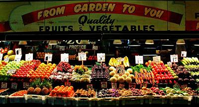 Pikes Market Fruit Stand Art Print by Benjamin Yeager