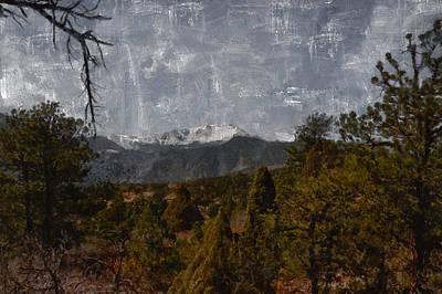 Pikes Peak 1 Digital Painting Art Print by Ernie Echols