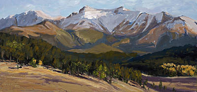 Pikes Peak Painting - Pikes Peak Panoramic by Mary Giacomini