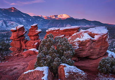 Winter Landscapes Photograph - Pikes Peak Sunrise by Darren  White