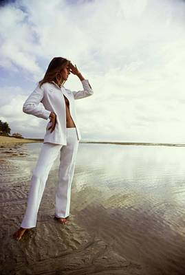 Photograph - Pilar Crespi Wearing A White Suit by Arnaud de Rosnay
