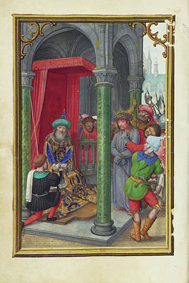 Pilate Painting - Pilate Washing His Hands Simon Bening, Flemish by Litz Collection