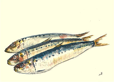 Animals Painting - Pilchards by Juan  Bosco