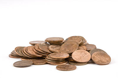 Politicians Royalty-Free and Rights-Managed Images - Pile of American Pennies On White Background by Keith Webber Jr