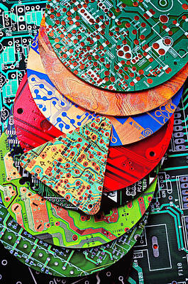 Electronic Photograph - Pile Of Circuit Boards by Garry Gay