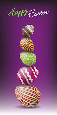 Easter Celebration Drawing - Pile Of Easter Egge by Alain De Maximy