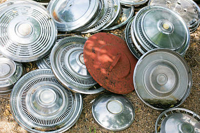 Hubcap Wall Art - Photograph - Pile Of Hubcaps, Tucumcari, New Mexico by Julien Mcroberts