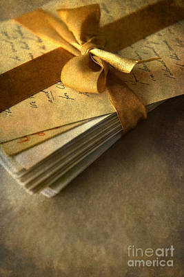 Pile Of Letters With Golden Ribbon Print by Jaroslaw Blaminsky