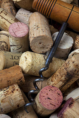 Pile Of Wine Corks With Corkscrew Art Print